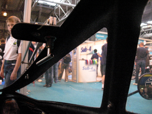 Photo of interior of the Challenger showing the wiper handle