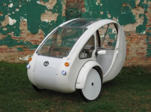 Photo of white ELF velomobile