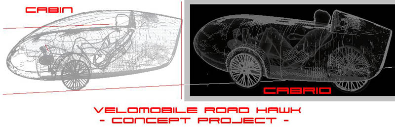 Concept drawings of Road HAWK velomobile