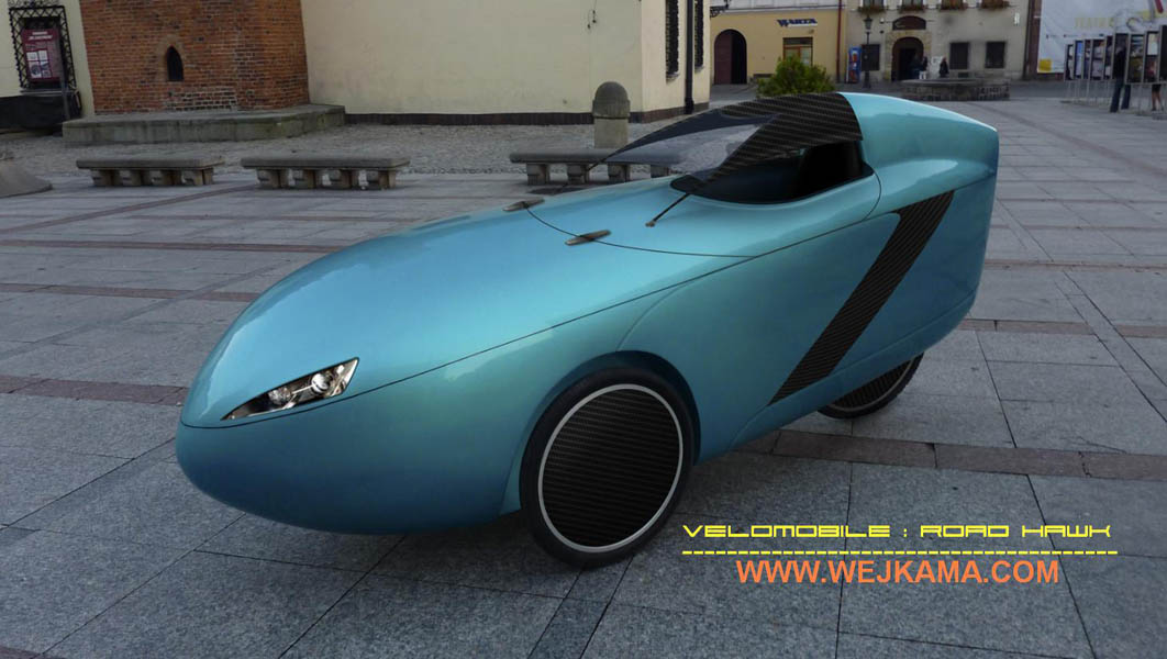 Photo mock-up of the Road HAWK velomobile