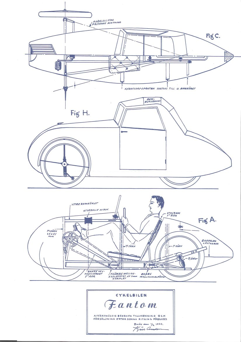 Fantom velomobile general arrangement drawing