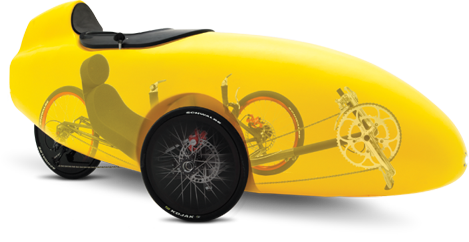 Composite photo of a yellow Rotovelo velomobile